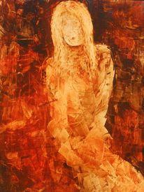 Öl auf karton, Frau, Malerei,