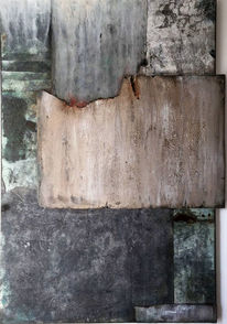 Mischtechnik, Acrylmalerei, Abstrakt, Blau
