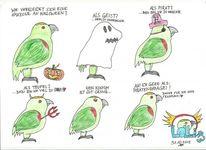 Halloween, Buntstiftzeichnung, Geist, Pirat