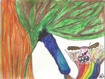 Vase, Regenbogen, Pferde, Aquarellstifte