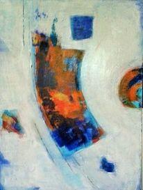 Weiß, Türkis, Malerei, Abstrakt