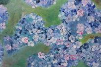 Blumen, Blau, Moderne malerei, Grün