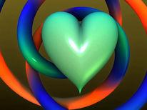 3d, Liebe, Digital, Herz