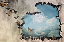 Zerborstene wand, Öffnung, Wolken, Himmel