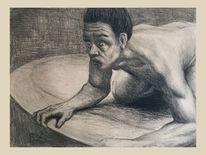 Mann, Kohlezeichnung, Fantasie, Zeichnungen