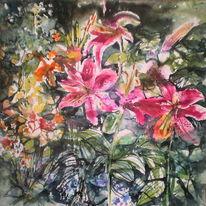 Malerei, Sommer, Lilien, Aquarell
