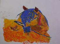 Tiere, Pony, Pferde, Malerei