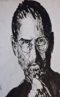 Marker, Zeichnung, Steve jobs, Portrait