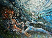 Frau, Unterwasser, Mann, Malerei