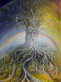 Yggdrasil, Nordische götterwelt, Weltenbaum, Malerei