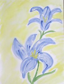Malerei, Blau, Lila, Blumen