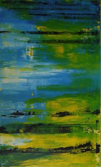 Malerei, Abstrakt, Blau, Grün