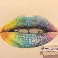 Zeichnung, Lippen, Menschen, Bunt