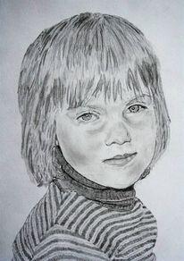 Blick, Portrait, Zeichnung, Kind