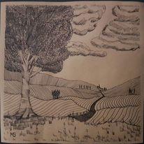 Wald, Schwarz weiß, Horizont, Zeichenfeder