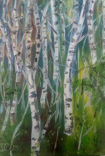 Wald, Birken, Baum, Malerei