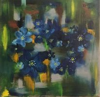 Ölmalerei, Blumen, Blau, Malerei