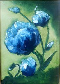 Blumen, Blau, Grün, Malerei