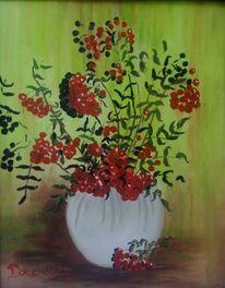 Rot, Weiß, Eberesche, Vase