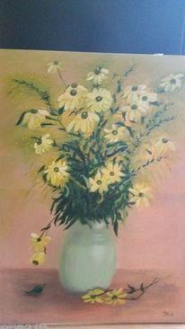 Gelb, Blumen, Strauß, Vase