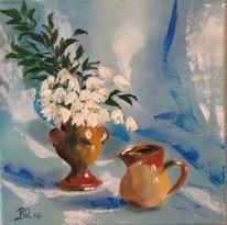 Blau, Blumen, Gefäs, Ölmalerei