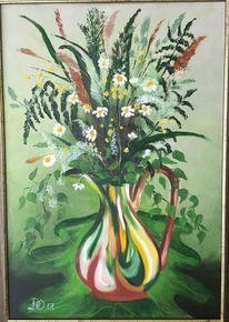 Weiß, Ölmalerei, Pflanzen, Krug
