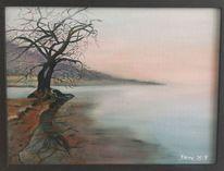 Grau, Nebel, Baum, Malerei