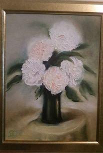 Blumen, Ölmalerei, Weiß, Grün