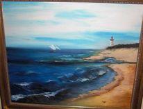 Blau, Meer, Ölmalerei, Leuchtturm