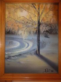 Ölmalerei, Winter, Baum, Weiß