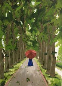 Schirm, Frau, Allee, Spaziergang
