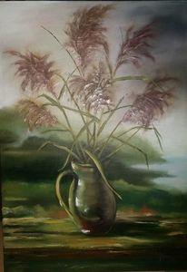 Ölmalerei, Krug, Landschaft, Grün