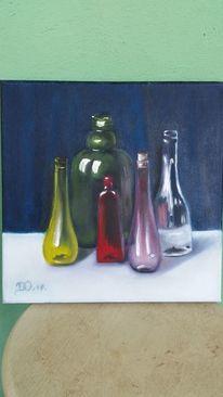 Rot, Ölmalerei, Glas, Grün