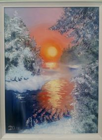 Sonnenuntergang, Fluss, Winter, Tanne