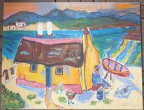 Landschaft, Meer, Wasser, Acrylmalerei