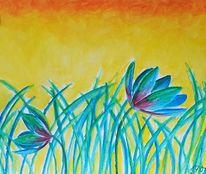 Sonnenaufgang, Pinsel, Blumenwiese, Pflanzen