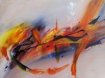 Aquarellmalerei, Abstrakt, Farben, Gemälde