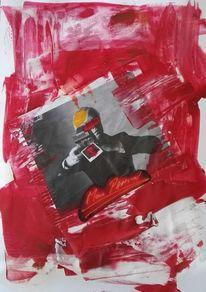 Collage, Malerei, Aquarellmalerei, Acrylmalerei