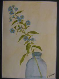 Aquarellmalerei, Blumen, Vase, Winteraster