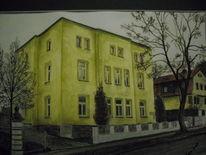 Stadt, Sangerhauusen, Gebäude, Malerei