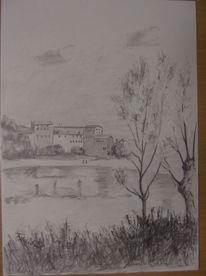 Gebäude, Baum, Wasser, Zeichnungen