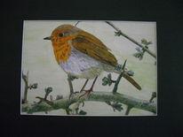 Baum, Vogel, Rotkelchen, Malerei