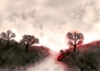 Landschaft, Surreal, Rot, Einsamkeit