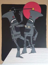 Mond, Roboter, Liebe, Malerei