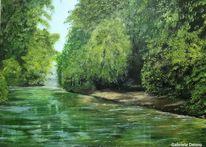 Landschaft, Landschaftsmalerei, Fluss, Malerei