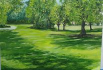 Wiese, Sonne, Landschaftsmalerei, Stadtpark