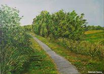 Fahrrad tour fietzpad, Fahrradweg, Landschaft, Malerei