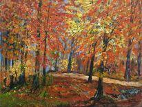 Landschaft, Blätter, Landschaftsmalerei, Herbst