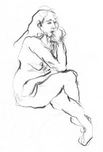 Sitzende frau, Zeichnung, Grafit, Akt
