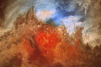 Abstrakt, Spachteltechnik, Inferno, Malerei